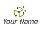 Zweifarbig, Viele Kreise, Netzwerk, Logo