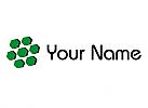 Viele Sechsecke in grün und schwarz Logo