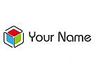 Würfel, farbig, Rechtecke, Logo