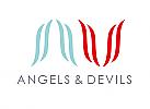 ö, Zeichen, zweifarbig, Zeichnung, Signet, Symbol, Engel, Teufel, Logo