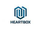 Ö, Zeichen, Signet, Herz, Kubus, Cube, Hexagon, Sechseck, Tehnologie Logo