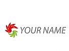 Zwei Spirale in rot und grün Logo